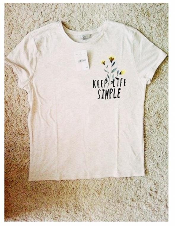 Bluzki NOWA nieużywana koszulka beżowy melanż S M napis