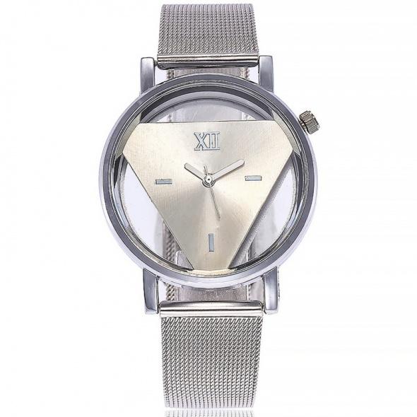 Zegarek damski trójkąt srebrny bransoleta metal