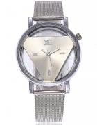 Zegarek damski trójkąt srebrny bransoleta metal...