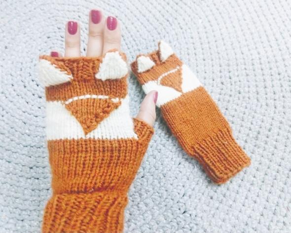 Rękawiczki Mitenki liski handmade Polska