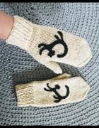 Wełniane rękawiczki z kotem handmade POLSKA...