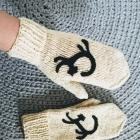 Wełniane rękawiczki z kotem handmade POLSKA