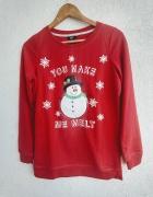 Bluza świąteczna z bałwanem czerwona F&F...