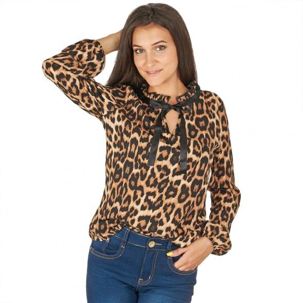 koszula bluzka tasiemka wiązana panterka leo centki uni sexy