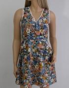 Sukienka kwiaty łączka S M zwiewna retro vintage...