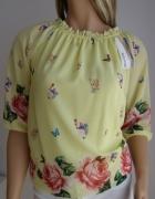 bluzka róże italy włoska S M nowa żółta lato kwiaty...