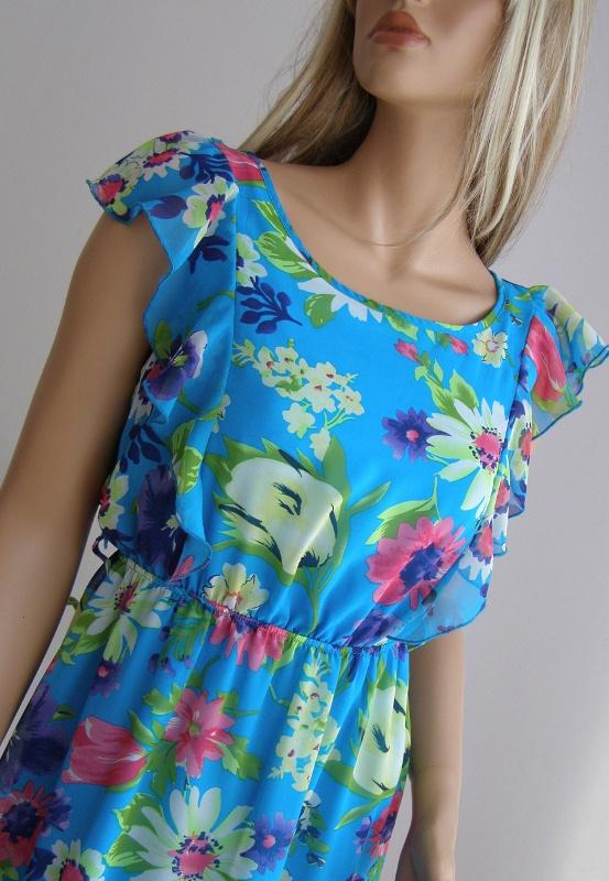 sukienka Zara kwiaty 36 S wesele szyfon falbanka