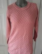 Długi łososiowy sweter S nowy