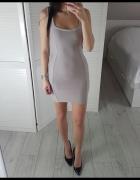 Missguided bandażowa S dopasowana pudrowa szara sukienka ramiąc...