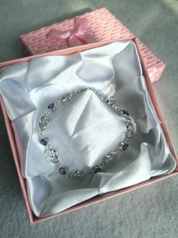 Srebrna bransoletka serce fioletowy kryształ idealna na prezent