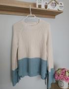 Sweter George wiązany śliczny turkus L