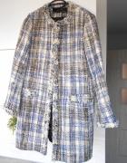 Zara nowy płaszcz tweed retro kratka wystrzępiony retro babydol...