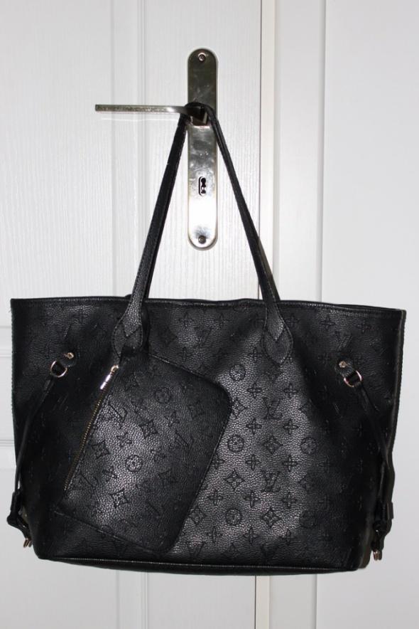 Louis vuitton czarna torba duża shopper bag