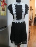 Nowa sukienka koronkowa czarno biała BY VERY M L...
