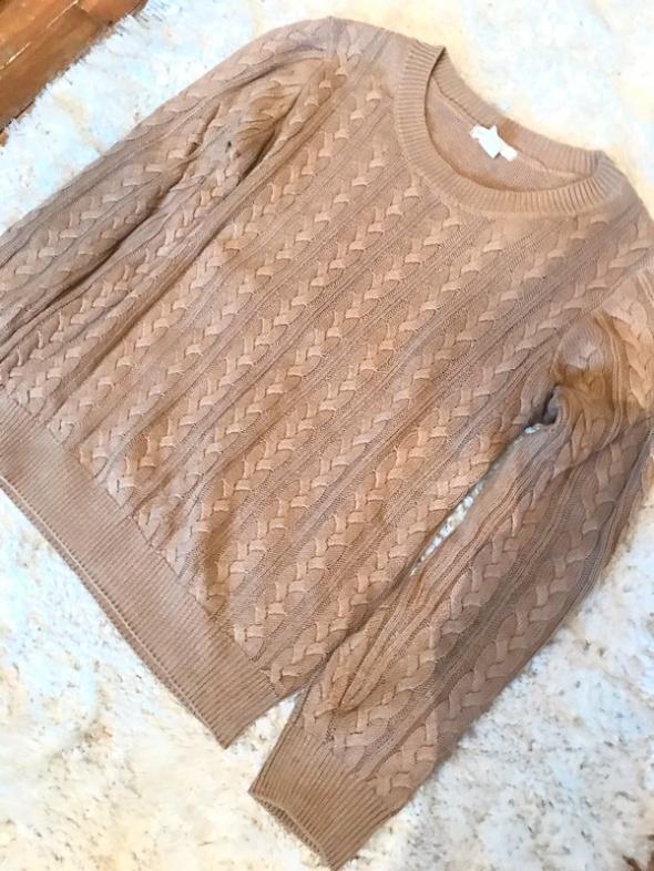 Sweterek beżowy jasny brąz splot H&M S...