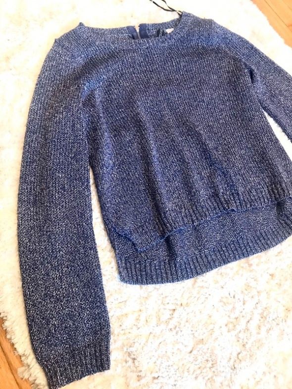 Niebieski srebrny sweterek zip h&m oversize...