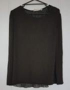 Zielony sweter Zara L 40 z wełną wełna alpaka plisy szyfon zgni...