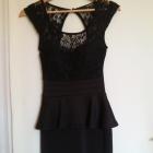 czarna koronkowa sukienka z baskinką