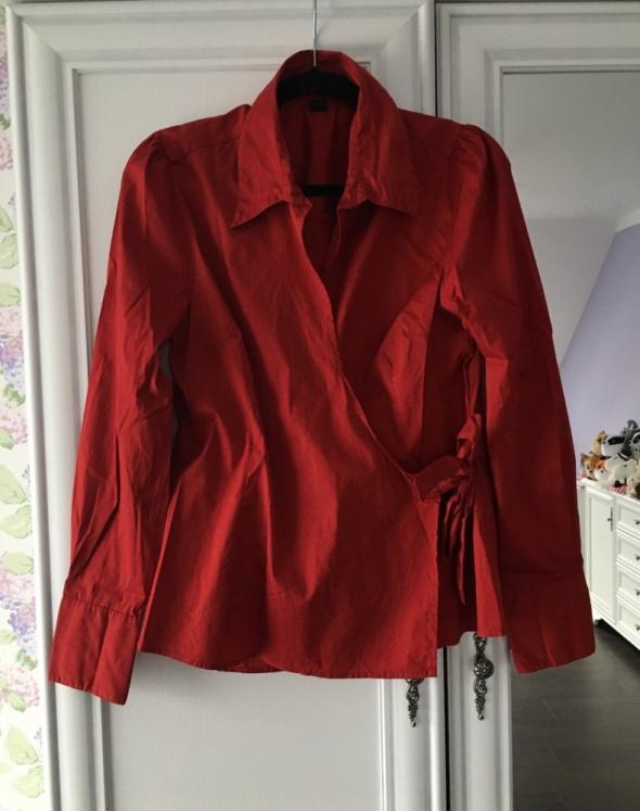 Koszula czerwona burgundowa 44 XXL H&M wiązana elegancka...