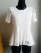 Biała bluzka z baskinką koronka H&M...