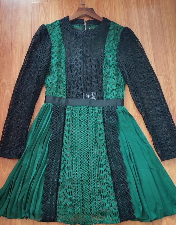 NOWA piękna sukienka koronka plisy M L