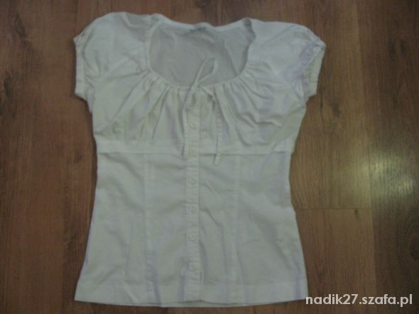 Super bluzka biurowa biała krótki rękaw roz 34...