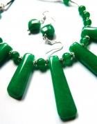 Jadeit zielony efektowny zestaw biżuterii w srebrze...