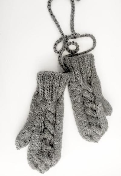 Szare rękawiczki jednopalczaki z polarem warkocz...