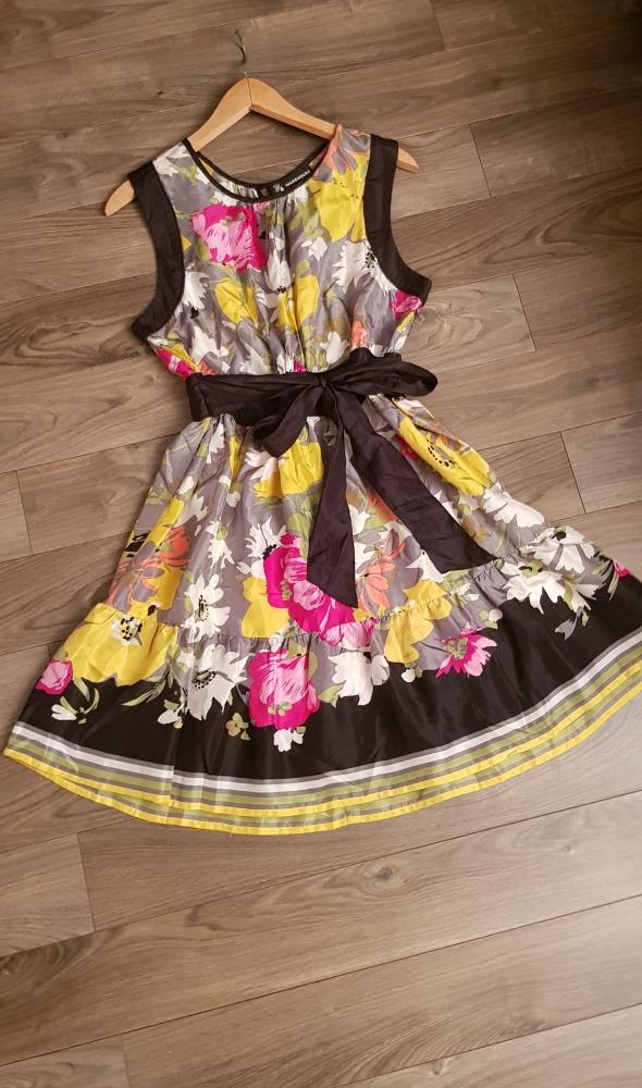 Suknie i sukienki Sukienka Warehouse r M L kwiaty jedwab silk