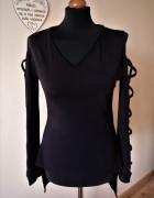 Piękna czarna bluzka tunika paski na rękawach Pakuten m