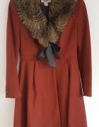 Zimowy płaszcz H&M 38 M retro vintage brązowy wełniany futro ko...