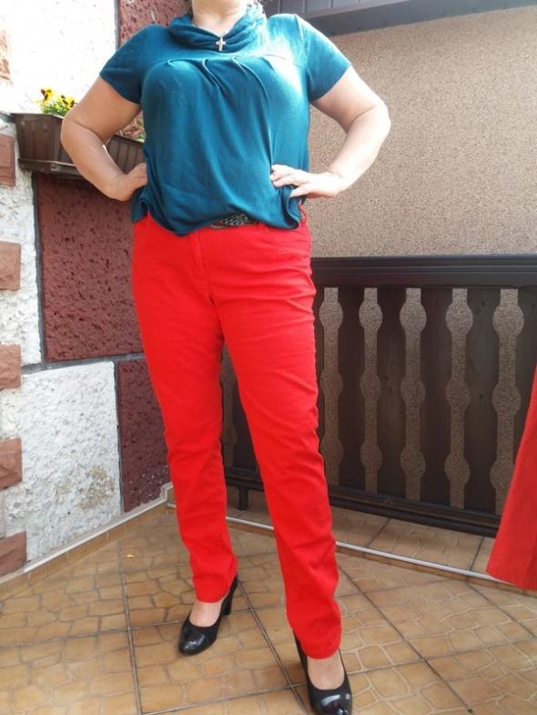 spodnie damskie roz 48 XL czerwone jeansy