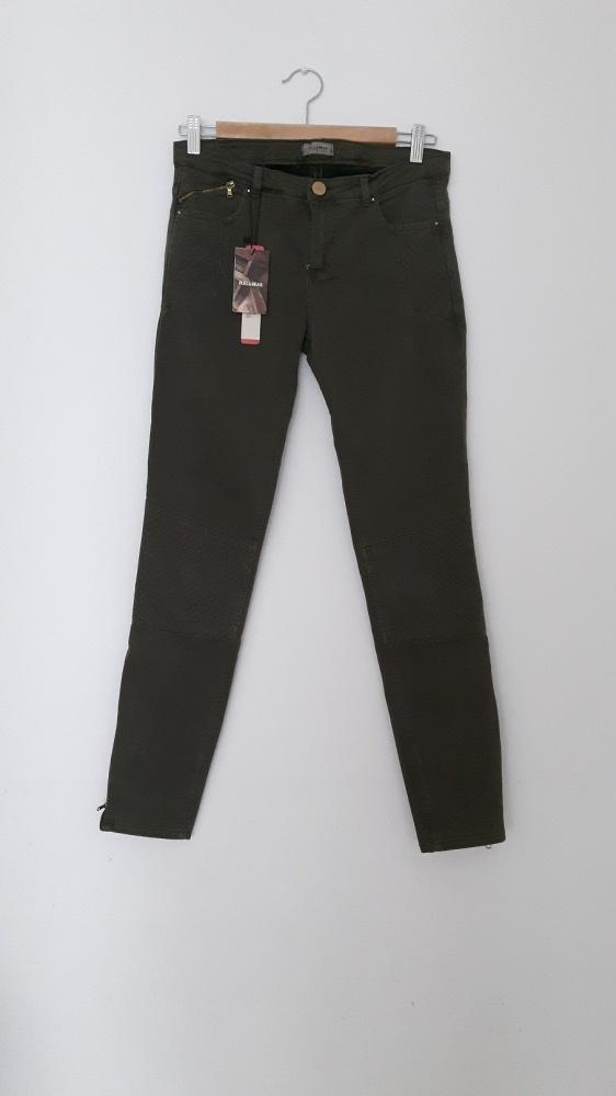 Spodnie khaki biker Pull and Bear przeszycia zamek zip modne in...