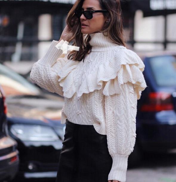 Zara 36 S poszukiwany sweter z falbanka Hit