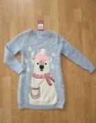 Ciepły włochaty długi sweterek roz 116 NOWY...