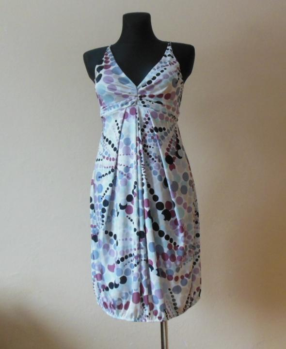 Benetton sukienka biała groszki 38 40 w Suknie i sukienki