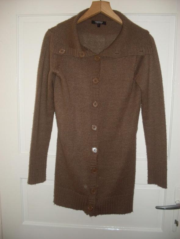 Brązowy długi sweter kardigan M L Butik