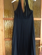Piękna czarna sukienka mgiełka plis S M...