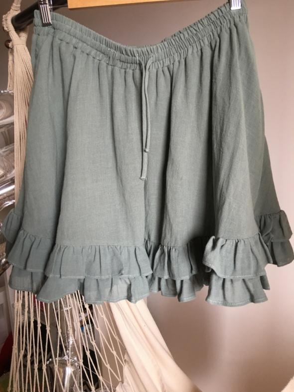 Spódnica miętowa H&M 42 XL falbanki lato rozkloszowana efektown...