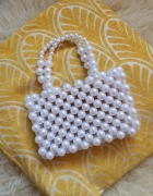 Torebka koraliki perły biała kremowa elegancka pleciona retro v...