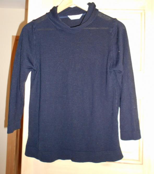 Marks Spencer granatowy sweter golf minimalizm...