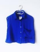 NOWA niebieska bluzka mgiełka koszulowa bez rękawów...
