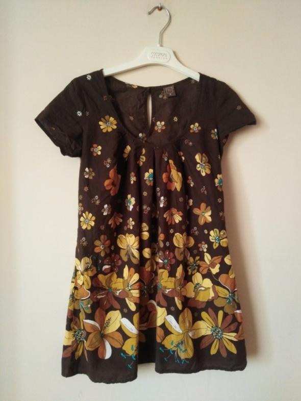 TU 36 S brązowa bluzka tunika w kwiaty elegancka wizytowa bawełna