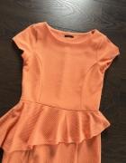 Sukienka Mohito baskinka pomarańczowa orange brzoskwiniowa 34 XS retro style