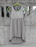 śliczna włoska Sukienka 146 asymetryczna z koronką zwiewna...