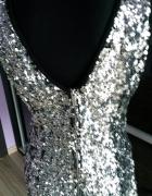 NOWA zmysłowa srebrna sukienka cekiny...