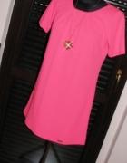 Neonowa Nowa piękna różowa tunika sukienka trapez...
