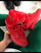 Czerwone sneakersy buty zimowe LU BOO ocieplane nowe rozmiar 35