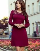 MOIRA Trapezowa sukienka z koronką BORDOWA S M L XL...