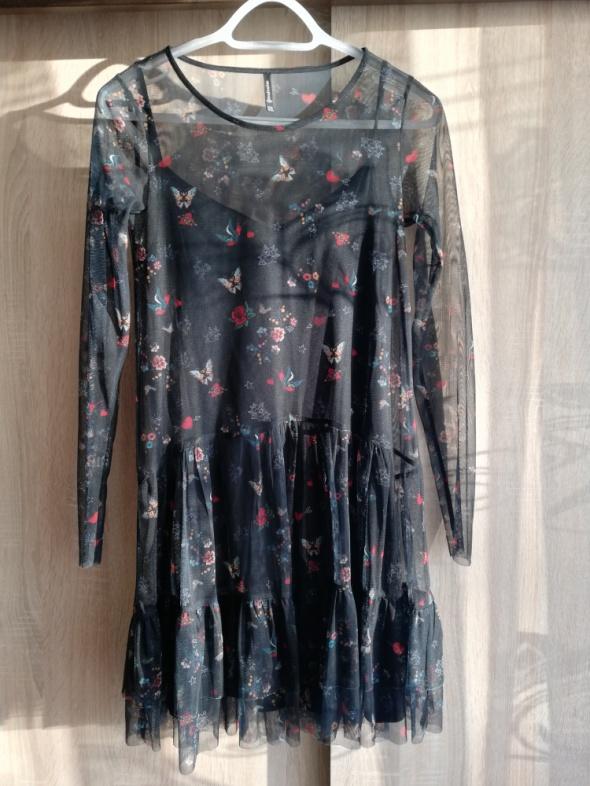 Sukienka krótka siatka mgiełka czarna w kwiaty rozmiar M...